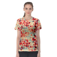 Modern Hipster Triangle Pattern Red Blue Beige Women s Sport Mesh Tee