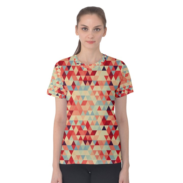 Modern Hipster Triangle Pattern Red Blue Beige Women s Cotton Tee