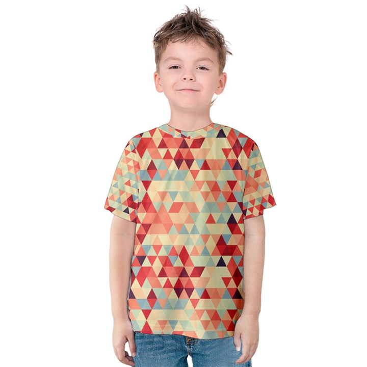 Modern Hipster Triangle Pattern Red Blue Beige Kids  Cotton Tee