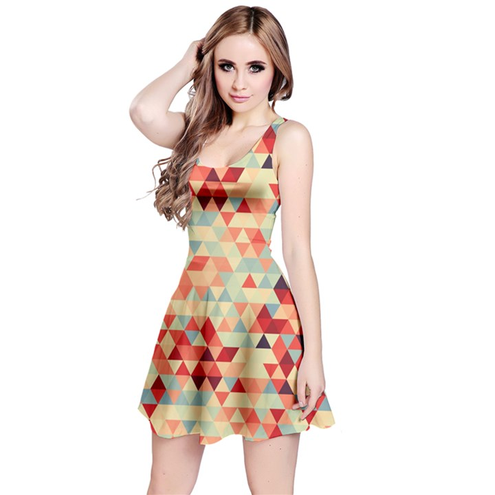 Modern Hipster Triangle Pattern Red Blue Beige Reversible Sleeveless Dress