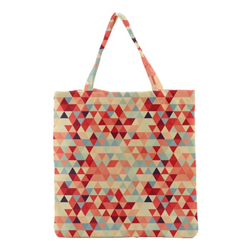 Modern Hipster Triangle Pattern Red Blue Beige Grocery Tote Bag