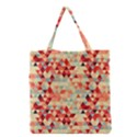 Modern Hipster Triangle Pattern Red Blue Beige Grocery Tote Bag View1