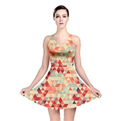 Modern Hipster Triangle Pattern Red Blue Beige Reversible Skater Dress