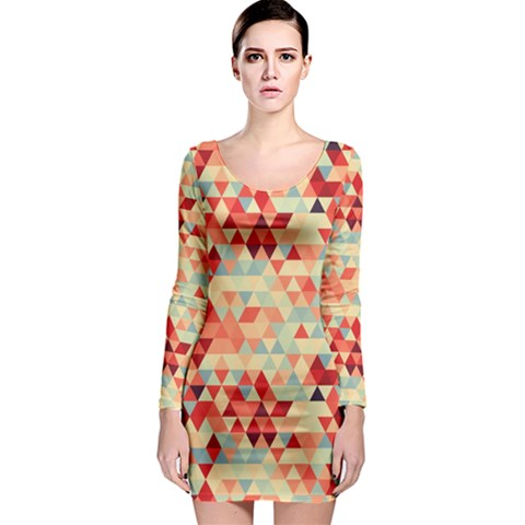 Modern Hipster Triangle Pattern Red Blue Beige Long Sleeve Bodycon Dress