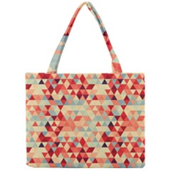 Modern Hipster Triangle Pattern Red Blue Beige Mini Tote Bag