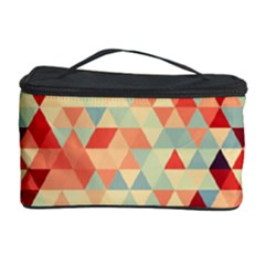 Modern Hipster Triangle Pattern Red Blue Beige Cosmetic Storage Case