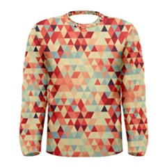 Modern Hipster Triangle Pattern Red Blue Beige Men s Long Sleeve Tee