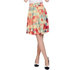 Modern Hipster Triangle Pattern Red Blue Beige A Line Skirt