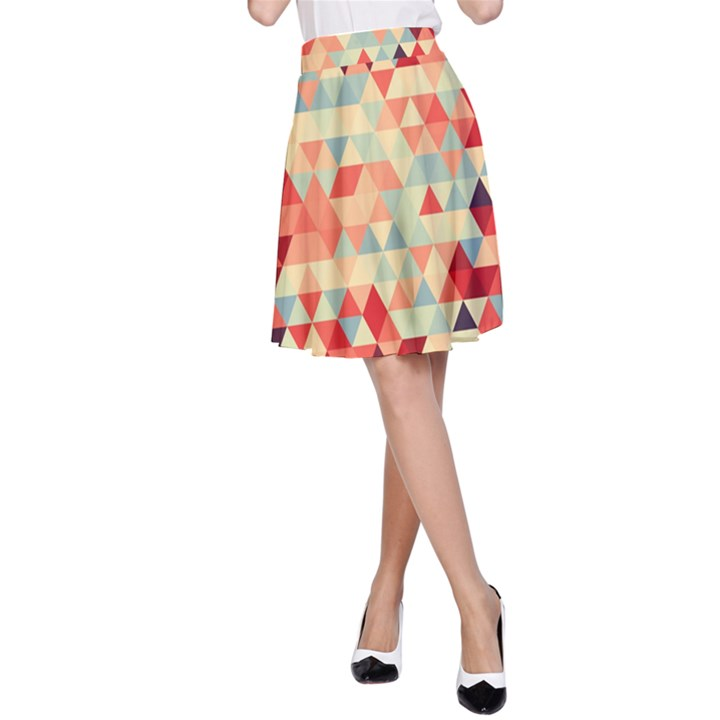 Modern Hipster Triangle Pattern Red Blue Beige A-Line Skirt