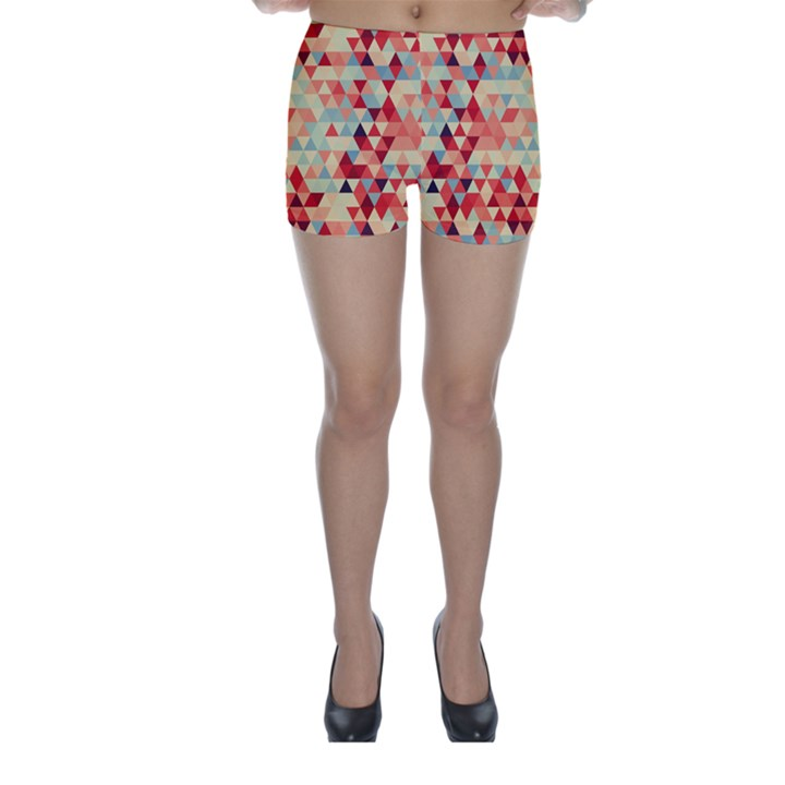 Modern Hipster Triangle Pattern Red Blue Beige Skinny Shorts