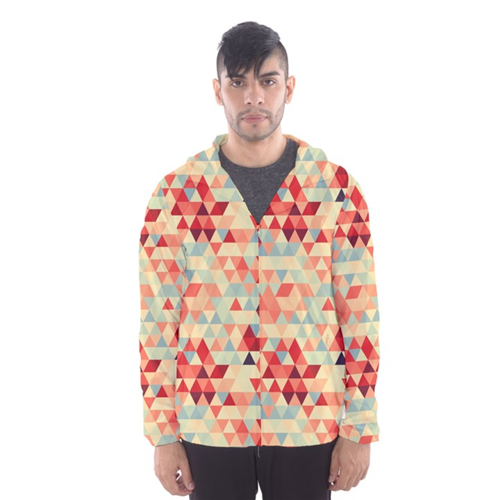 Modern Hipster Triangle Pattern Red Blue Beige Hooded Wind Breaker (Men)