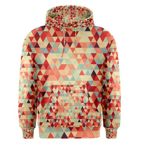 Modern Hipster Triangle Pattern Red Blue Beige Men s Pullover Hoodie