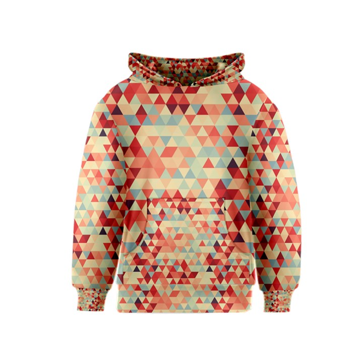 Modern Hipster Triangle Pattern Red Blue Beige Kids  Pullover Hoodie