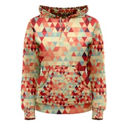 Modern Hipster Triangle Pattern Red Blue Beige Women s Pullover Hoodie