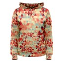 Modern Hipster Triangle Pattern Red Blue Beige Women s Pullover Hoodie View1