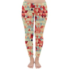 Modern Hipster Triangle Pattern Red Blue Beige Winter Leggings