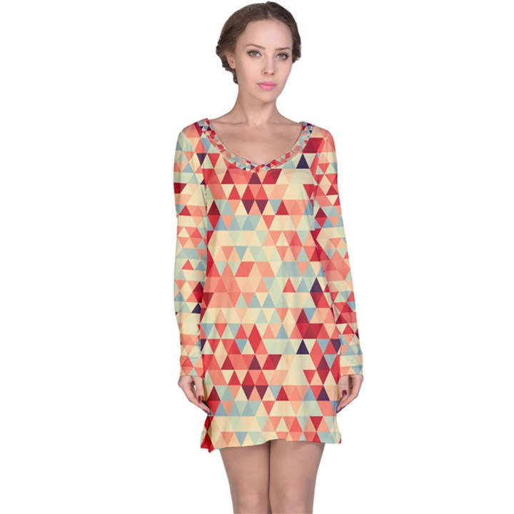 Modern Hipster Triangle Pattern Red Blue Beige Long Sleeve Nightdress
