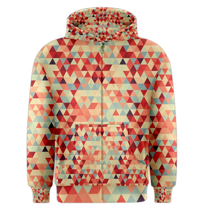 Modern Hipster Triangle Pattern Red Blue Beige Men s Zipper Hoodie