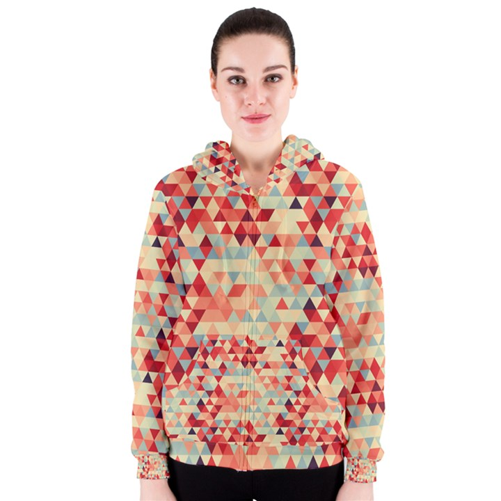 Modern Hipster Triangle Pattern Red Blue Beige Women s Zipper Hoodie