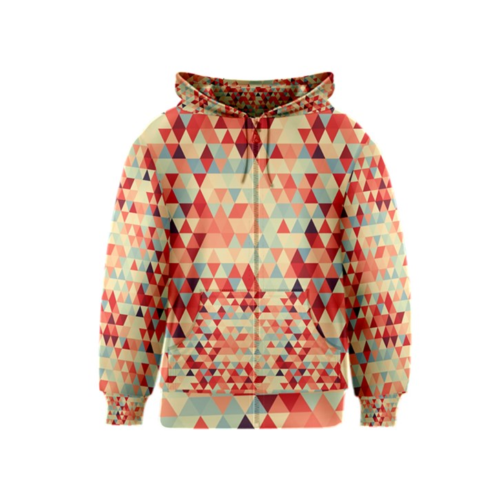 Modern Hipster Triangle Pattern Red Blue Beige Kids  Zipper Hoodie