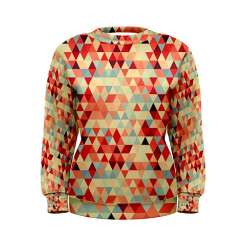 Modern Hipster Triangle Pattern Red Blue Beige Women s Sweatshirt