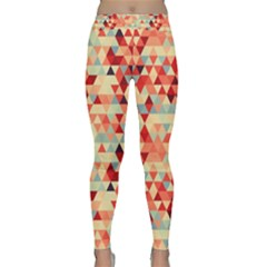 Modern Hipster Triangle Pattern Red Blue Beige Yoga Leggings