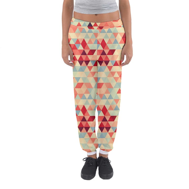 Modern Hipster Triangle Pattern Red Blue Beige Women s Jogger Sweatpants
