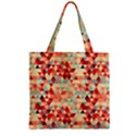 Modern Hipster Triangle Pattern Red Blue Beige Zipper Grocery Tote Bag View1