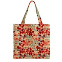 Modern Hipster Triangle Pattern Red Blue Beige Zipper Grocery Tote Bag View2