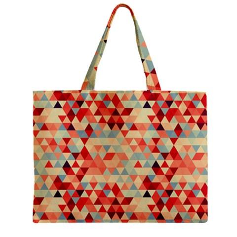 Modern Hipster Triangle Pattern Red Blue Beige Zipper Mini Tote Bag