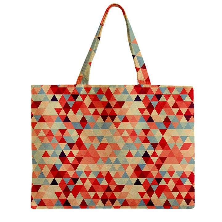 Modern Hipster Triangle Pattern Red Blue Beige Zipper Mini Tote Bag