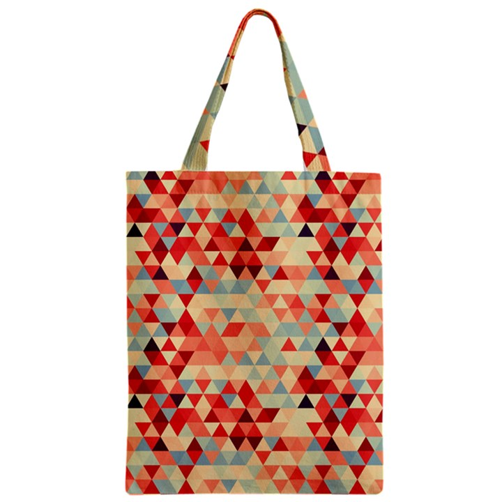 Modern Hipster Triangle Pattern Red Blue Beige Zipper Classic Tote Bag