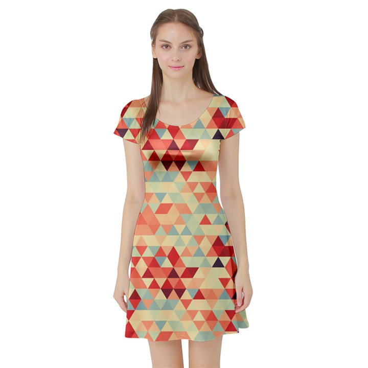 Modern Hipster Triangle Pattern Red Blue Beige Short Sleeve Skater Dress