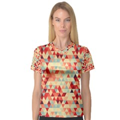 Modern Hipster Triangle Pattern Red Blue Beige Women s V-Neck Sport Mesh Tee