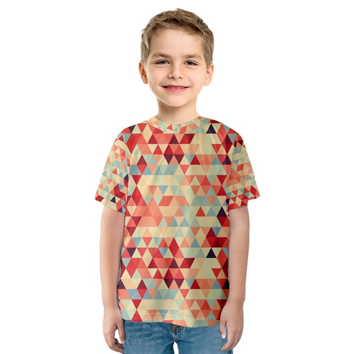 Modern Hipster Triangle Pattern Red Blue Beige Kids  Sport Mesh Tee