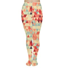 Modern Hipster Triangle Pattern Red Blue Beige Women s Tights