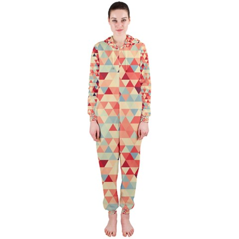 Modern Hipster Triangle Pattern Red Blue Beige Hooded Jumpsuit (Ladies)