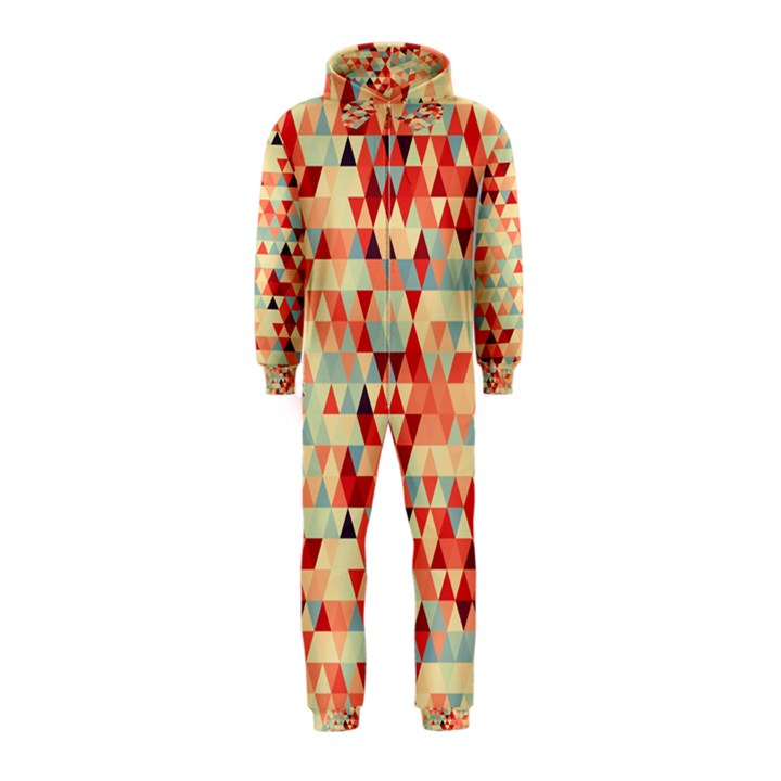 Modern Hipster Triangle Pattern Red Blue Beige Hooded Jumpsuit (Kids)