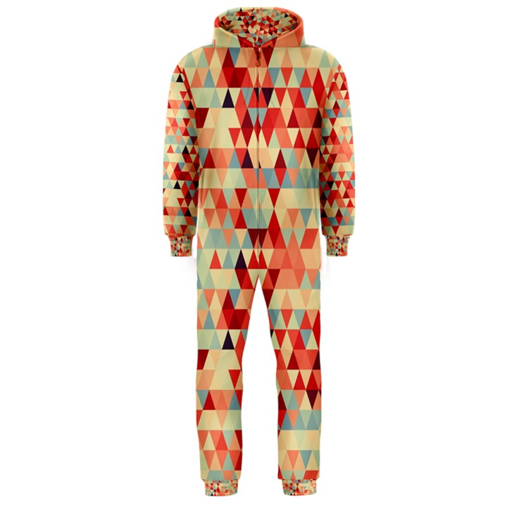 Modern Hipster Triangle Pattern Red Blue Beige Hooded Jumpsuit (Men)