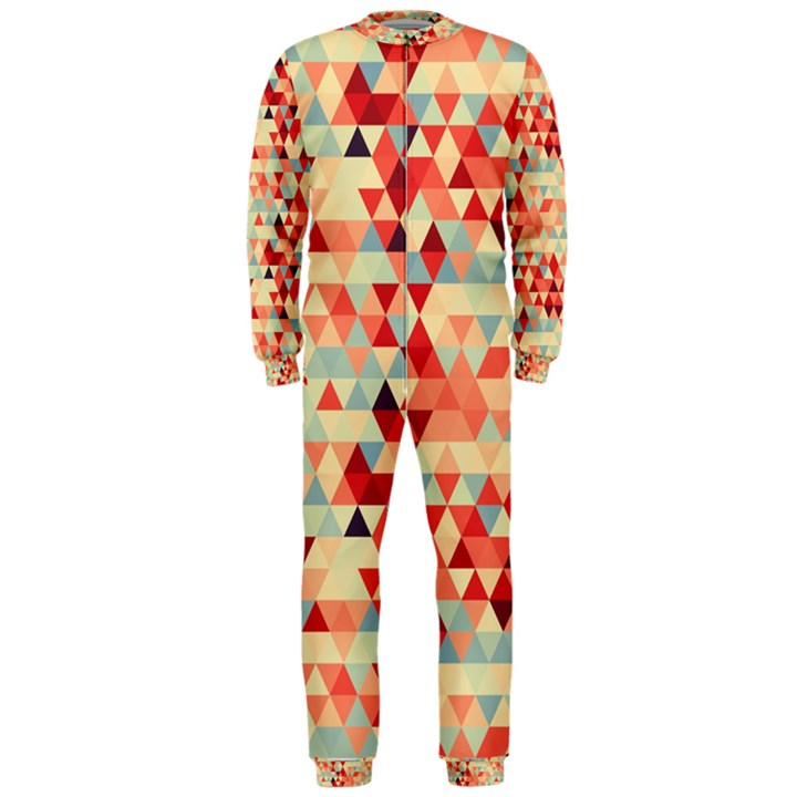 Modern Hipster Triangle Pattern Red Blue Beige OnePiece Jumpsuit (Men)