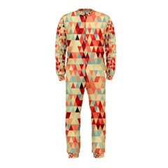Modern Hipster Triangle Pattern Red Blue Beige OnePiece Jumpsuit (Kids)