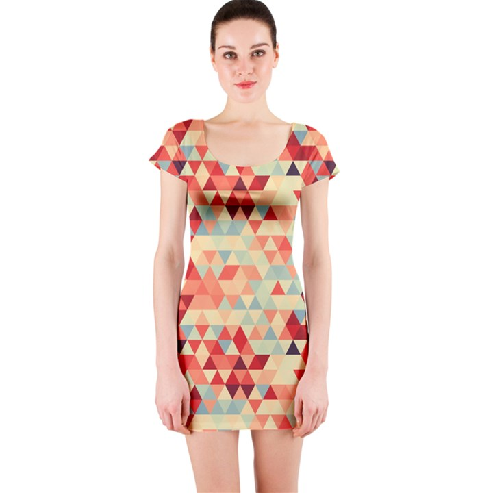 Modern Hipster Triangle Pattern Red Blue Beige Short Sleeve Bodycon Dress
