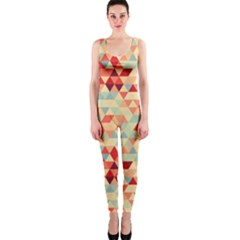 Modern Hipster Triangle Pattern Red Blue Beige Onepiece Catsuit