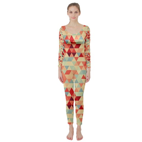 Modern Hipster Triangle Pattern Red Blue Beige Long Sleeve Catsuit