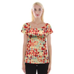 Modern Hipster Triangle Pattern Red Blue Beige Women s Cap Sleeve Top