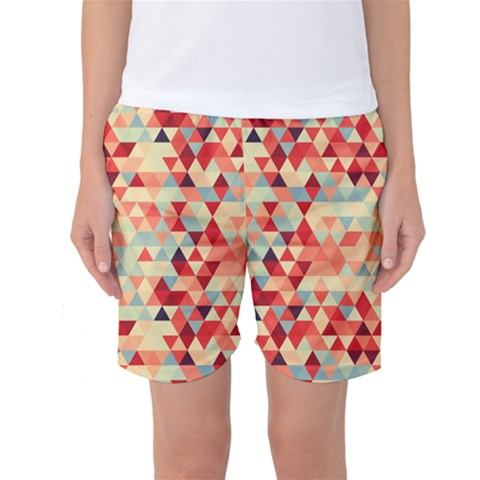 Modern Hipster Triangle Pattern Red Blue Beige Women s Basketball Shorts