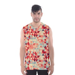 Modern Hipster Triangle Pattern Red Blue Beige Men s Basketball Tank Top
