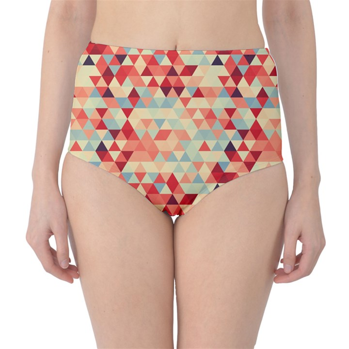 Modern Hipster Triangle Pattern Red Blue Beige High-Waist Bikini Bottoms