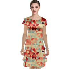 Modern Hipster Triangle Pattern Red Blue Beige Cap Sleeve Nightdress