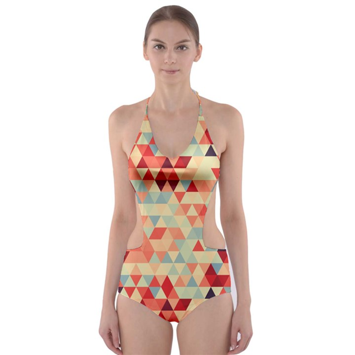 Modern Hipster Triangle Pattern Red Blue Beige Cut-Out One Piece Swimsuit